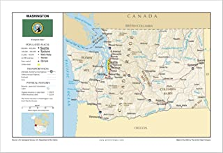 13x19 Washington General Reference Wall Map - Anchor Maps USA Foundational Series - Cities, Roads, Physical Features, and Topography [Rolled]