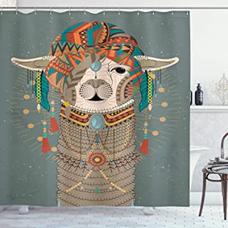 Ambesonne Llama Shower Curtain, Colorful Headwear Wearing Llama with Accessories Earrings Necklace Abstract Animal, Cloth Fabric Bathroom Decor Set with Hooks, 75