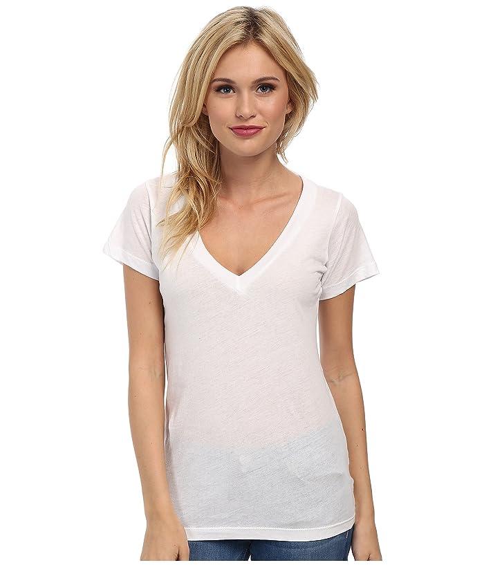 LNA S/S Deep V (White) Women's T Shirt