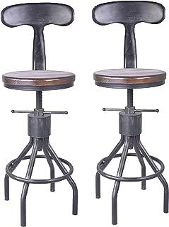 LOKKHAN Set of 2 Industrial Bar Stool-Adjustable Swivel Wood Metal Bar Stool,Extra Tall Farmhouse Bar Stool,23.4-33 Inch Seat Height,with Backrest