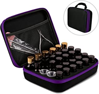 AKWOX Essential Oil Storage Case for 5ml/10 ml/15ml Bottles (Holds 30 Bottles), Essential Oil Traveling Carrying Case - Hard Box for Essential Oil Bottles Storage - Purple