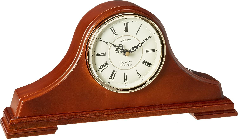 Seiko Popular shop is the lowest price challenge Mantel Chime half Clock Dark tambour Case Brown Oak Solid