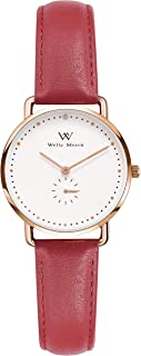 Womens Stainless Steel Watches Water Resistant,Swiss Quartz Movement,Luxury Minimalist Ultra Thin 34MM Case,Domed Glass,Leather Mesh Band