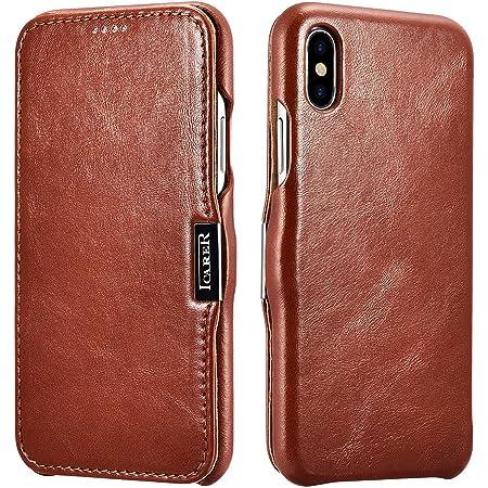 ICARER Custodia iPhone XS iPhone X, Flip Folio Premium Vera Pelle ...