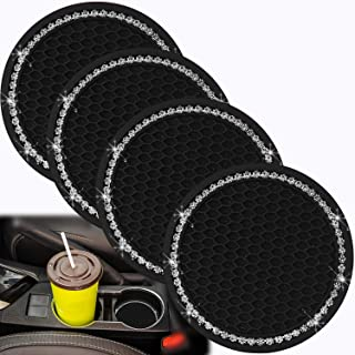 4 Pack Bling Car Cup Holder Coaster, Bling Cup Coasters for Car, Diamond Bling Cup Holder Insert Coaster for Cars, Multi-Functional Cup Coaster-Silicone Bling Car Interior Accessory(Cool Black)
