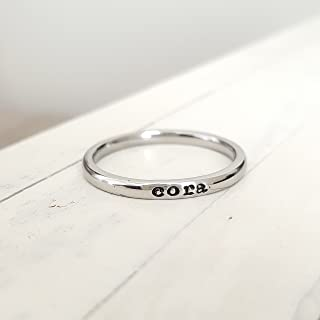 Stacking Name Ring Tiny 2mm Hand Stamped Hypoallergenic Stainless Steel Personalized