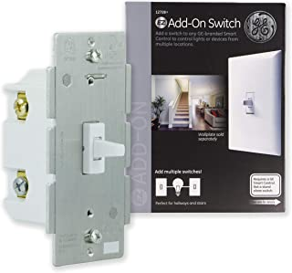 GE, White, Add-On Toggle Style Z-Wave, ZigBee Bluetooth Wireless Smart Lighting Controls, STANDALONE SWITCH, 12728, Works with Alexa
