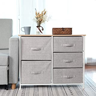 Dresser Storage Tower with 5 Storage Cubes,Foldable Fabric Drawer Bins,Sturdy Steel Frame, Wood Top Organizer Unit for Bedroom, Hallway, Closet, Office