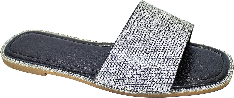Ladies Women Cut-out Glitter Slip On Sliders UK 03-08