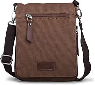 Men's Small Bag–Hengwin Small Shoulder Bag Canvas Handbag Waist Bag with Multiple Compartments for iPad Mini iphone8Samsung Galaxy Note8S7Fits Huawei MATE8(Brown)