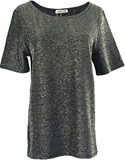 BLEND 4 THEE Women Short Sleeve Round Neck Top, Shiny Party Blouse Top