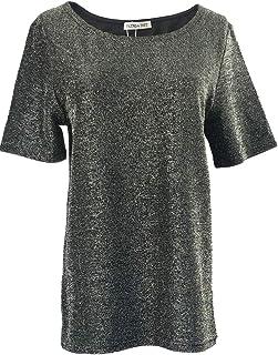 قميص نسائي برقبة مستديرة وأكمام قصيرة من Blend 4 Thee من Top لامع للحفلات