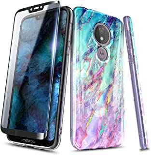 NageBee Moto G7 Play Case, T-Mobile Revvlry Case, Moto G7 Optimo (XT1952DL) with Tempered Glass Screen Protector (Full Coverage), Ultra Slim Thin Glossy Stylish Protective Bumper Cover Case (Nova)