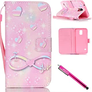Galaxy S5 mini Case, Firefish [Kickstand] [Shock Absorbent] Double Protective Case Flip Folio Slim Magnetic Cover with Wrist Strap for Samsung Galaxy S5 mini (SM-G800)-Love