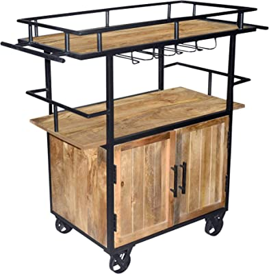The Urban Port Tup Wood and Metal Bar Cart with Double Door Storage and Casters, Brown and Black