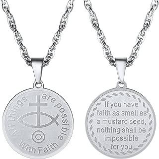 PROSTEEL Ichthus Fish Cross Christian Symbol Charm Necklace,Matthew 17:20. Bible Verse Scripture,Mens Womens Jewelry