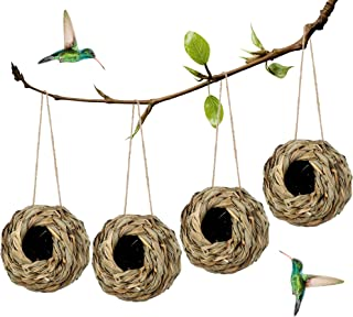 winemana 4 Pack Hanging Hummingbird Nest House for Outside, Ball Shape, Hand Woven, Durable Sturdy, Made of Natural Grass,...