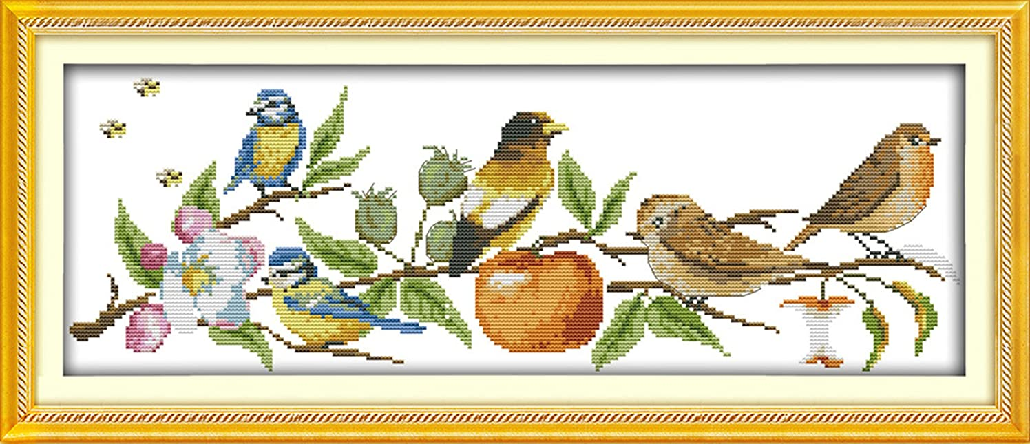 """eGoodn Cross Stitch Stamped Kit Pre-Printed Pattern The Birds On The Tree, 11CT Aida Fabric Size 26"""" x 9.8"""