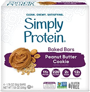 SimplyProtein Baked Bars. Clean and Light Crispy Bars with Plant Based Protein. (Peanut Butter Cookie, 24 Pack)