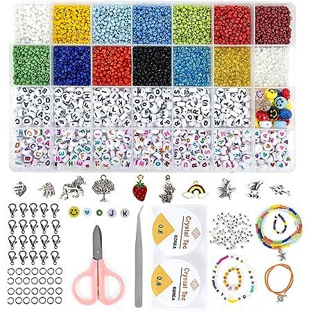 Glasperlen Buchstaben Perlen set, 3MM Perlen zum Auffädeln Bunte Buchstaben Smiley Mini Perlen Fädelperlen DIY mit Gummiband für Selber Ketten Ringe/Armbänder/Zu Machen
