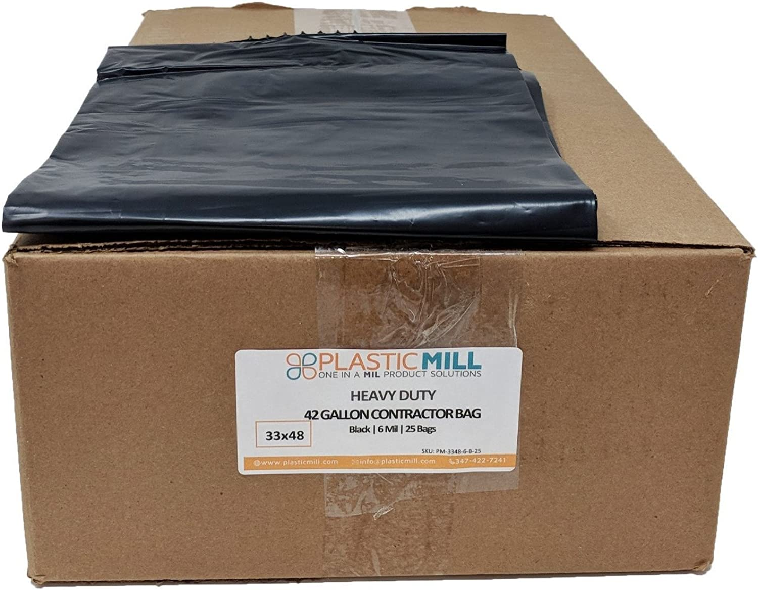 PlasticMill 42 Gallon, Black, 6 MIL, 33x48, 25 Bags Case, Garbage Bags Trash Can Liners.
