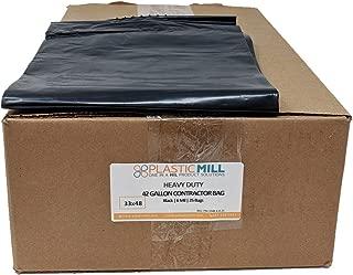 PlasticMill 42 Gallon Contractor Bags: Black, 6 MIL, 33x48, 25 Bags.
