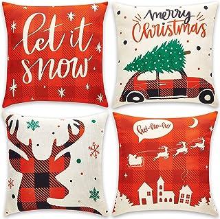 Christmas Pillow Covers 18x18 - Set of 4 - Cute Patterns of Reindeer, Snowflake, Santa Sleigh, Xmas Tree, Vintage Truck – ...