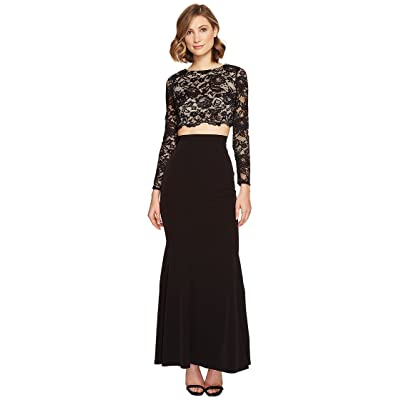 Aidan Mattox Lace and Crepe Gown (Black/Nude) Women