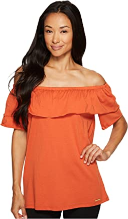 MICHAEL Michael Kors - Off Shoulder Short Sleeve Gathered Top