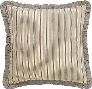 VHC Brands Farmhouse Bedding - Sawyer Mill Tan Fabric Euro Sham, One Size, Dark Creme White