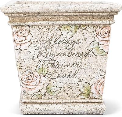 Always Remembered Forever Loved Grey Rose 7 x 5 Resin Decorative Memorial Planter