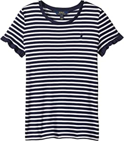 Striped Ruffled Jersey Top (Little Kids/Big Kids)