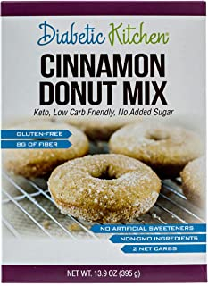 Diabetic Kitchen Cinnamon Donut Mix Is Keto-Friendly, Sugar-Free, Low-Carb, Gluten-Free, 8g Fiber, Non-GMO, No Artificial Sweeteners, No Sugar Alcohols (Box) 13.9 oz