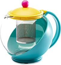 Primula Half Moon Throwback Teapot with Removable Infuser, Borosilicate Glass Tea Maker, Stainless Steel Filter, Dishwashe...