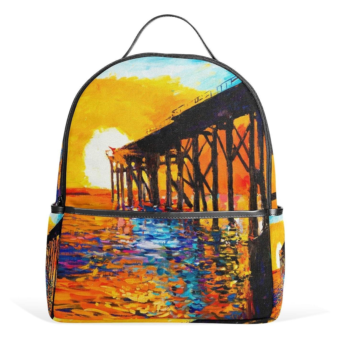 My Daily Sea Bridge Sunset Oil Painting Backpack School Bookbag Casual Daypack