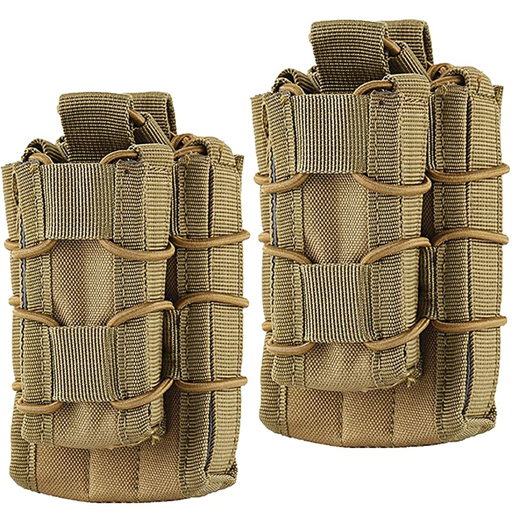 Hoanan Double Mag Pouch, Tactical Molle Magazine Pouch Open-Top Single Rifle Pistol Mag Pouch Cartridge Clip Pouch Hunting Bag ghlvz7680