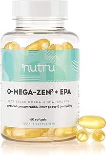 NuTru O-Mega-Zen3 +EPA Vegan Omega 3 EPA & DHA Supplement - Algal Based Fish Oil Alternative - 500+ mg Omega-3 Fatty Acids...