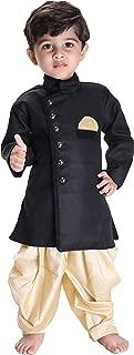 JBN Creation Boys' Black Cotton Blend Sherwani Style Kurta Set(VASBSW120GO)