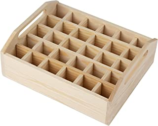 Essential Oil Organizer - Wood Essential Oils Box, Oil Rack, Oil Storage Case, Essential Oil Storage Tray, for Jewelry, Small Plant, Diffuser, Nail Polish, Holds 30 Bottles, 8.5 x 7.125 x 3 Inches