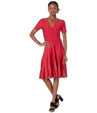 Zac Posen Cross Cable Knit Fit-and-Flare Dress (Multi Crimson) Women