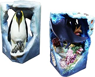 Best 2 Piece Penguin and Stingray Ocean Beach Island Water Themed Carved Figurine Unique Home Decor 2018 Present for Mom Wife Teacher Nurse Parent Grandparent Fisherman Family