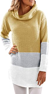 Kathemoi Womens Turtleneck Sweaters Long Sleeve Color Block Knit Long Sweater Pullover Tops