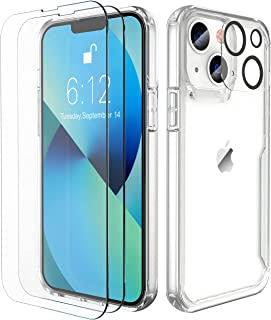 ORETech Designed for iPhone 13 Case,with 2 x Tempered Glass Screen Protector&Camera Lens for iPhone 13 Case Hard PC+Soft T...