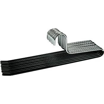 ipow 12 Unidades Perchas Met/álicas Antideslizante para Pantalones Organizador Ahorrar Espacio Metal Cromado//Color Negro