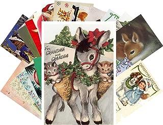 Vintage Christmas Greeting Cards 24pcs All Christmas Animals Reprint Postcard Set