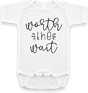 Worth The Wait Pregnancy Announcement Infant Bodysuit for Grandparents Daddy Uncle Aunt White