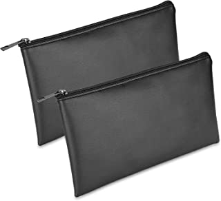 [2 Pack] ProCase Pencil Bag Pen Case, Large Capacity Students Stationery Pouch with Zipper Closure, Soft PU Leather Pencil Pouch for Pens Pencils Markers School Supplies –Black