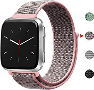 Smasy Bands Compatible with Fitbit Versa, Soft Nylon Replacement Wristband for Fitbit Versa Lite Women Men