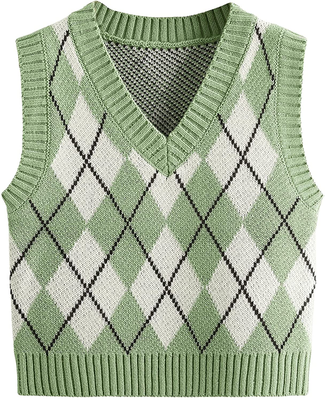 SweatyRocks Women's Plaid Geo Sleeveless V Neck Knit Crop Top Sweater Vest
