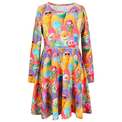 37f1806cbe474 Jxstar Girls Long Sleeve Desss Kid Cat Unicorn Floral Print Outfits